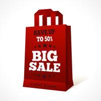 Emblème de sac shopping en papier rouge vecteur