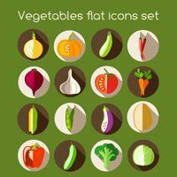 Légumes icônes plats vecteur