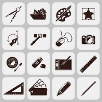 Icônes noires d'outils de concepteur
