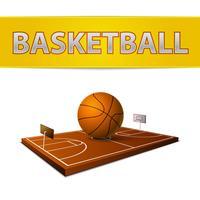 Ballon de basket-ball et champ avec emblème d'anneaux vecteur