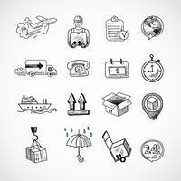 Ensemble d'icônes logistique dessinés à la main vecteur