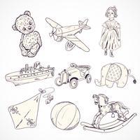 Jeu d'icônes de croquis de jouets