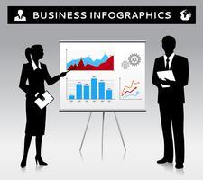 Modèle de présentation de tableau à feuilles mobiles avec des gens d'affaires