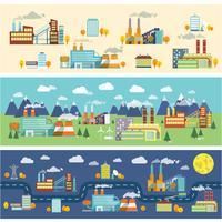 Bannières horizontales de bâtiments industriels vecteur