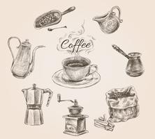 Ensemble de café rétro dessiné à la main vecteur