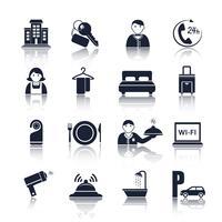 Ensemble de pictogrammes de voyage d'hôtel