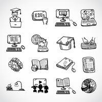 Croquis d'icône d'éducation en ligne vecteur
