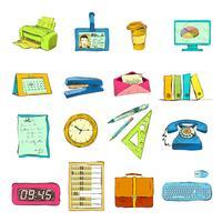 Ensemble d'icônes de fournitures de bureau d'affaires
