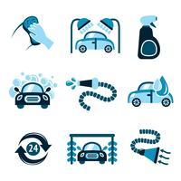 Icônes de lavage de voiture vecteur