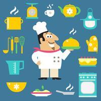 Chef de restaurant et articles de cuisine vecteur