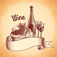 Affiche de croquis de vin