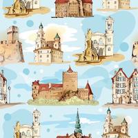 Modèle sans couture de croquis de la vieille ville