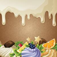 Fond de bonbons au chocolat blanc