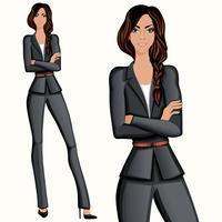 Style confiant femme confiante de style d'affaires vecteur