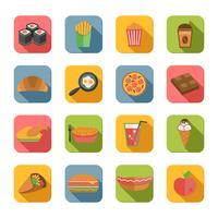icônes de la restauration rapide à plat