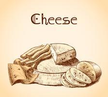 Affiche de croquis de fromage vecteur