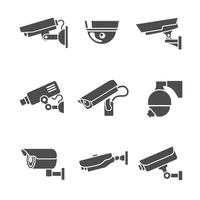 Jeu d'icônes de caméras de sécurité vecteur