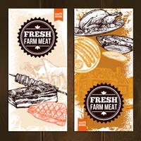 Bannières verticales d'aliments de viande dessinés à la main vecteur