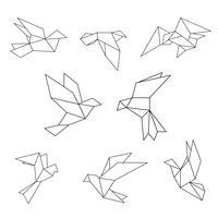 Ensemble de colombe géométrique de ligne noire. vecteur