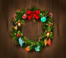 Affiche de guirlande de Noël festive vecteur