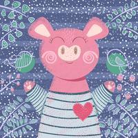 Cochon hiver mignon - illustration des enfants.