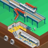 Illustration isométrique souterraine