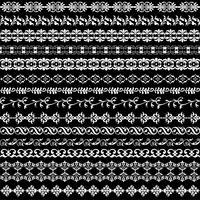 motifs de bordure fleuris blancs vecteur