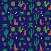 motif de coyote et de cactus vecteur