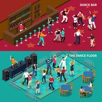 Bar Dance Floor 2 Bannières isométriques vecteur