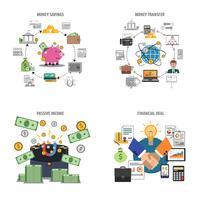 Ensemble d'icônes décoratives finances vecteur