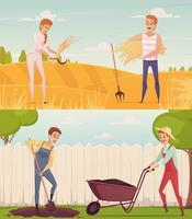 jardiniers au travail compositions vecteur