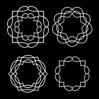 formes de médaillon de contour blanc vecteur