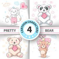 Cute teddy bear - définissez des personnages de dessins animés. vecteur