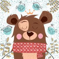 Illustration mignonne d'hiver. Personnages d'ours.