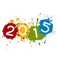 Texte de 2015 placé sur une éclaboussure d'encre colorée vecteur