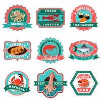 Ensemble d'emblèmes de fruits de mer