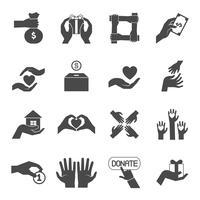 Longues mains donnant un ensemble d'icônes noires vecteur