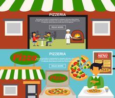 Ensemble de bannières Pizzeria vecteur