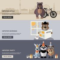Ensemble de bannière animaux hipster vecteur