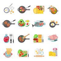 Jeu d'icônes plat de cuisine à la maison vecteur