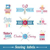 Collection de pictogrammes étiquettes de couture vecteur