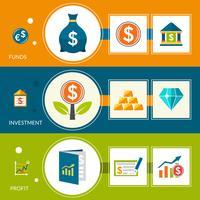 Bannières horizontales sur les bénéfices des fonds d'investissement vecteur