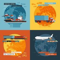 Bannière d'icônes plat Logistic4