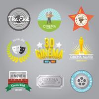 Collection d'étiquettes de cinéma vecteur