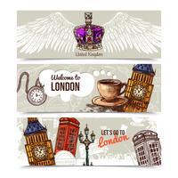 London bannières horizontales vecteur