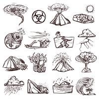 Jeu d'icônes d'esquisse en cas de catastrophe naturelle vecteur