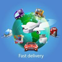 Concept de dessin animé de livraison rapide