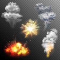 Jeu de formes d'explosions de feu d'artifice vecteur