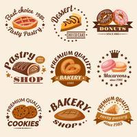 Ensemble d'emblèmes de pâtisserie vecteur