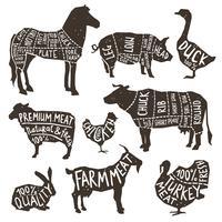 Typographie d'animaux de ferme vecteur